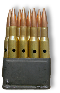 En Bloc clip with 30-06 dummy rounds for the M1 Garand